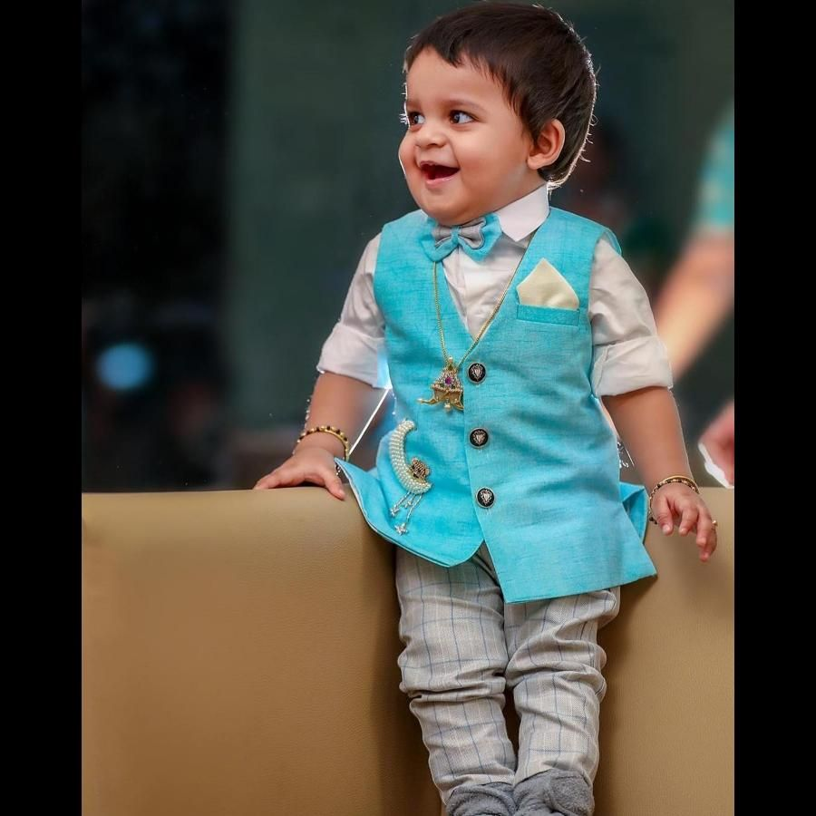 Royal blue designer vest for kids, boys. . To inquire whatsapp 6