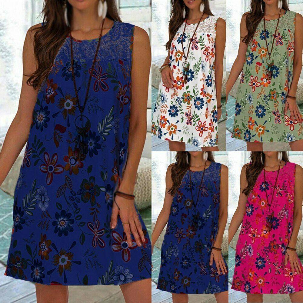 Damen Sommerkleid Minikleid Spitzenkleid Strandkleid Hängerchen Kleid Spitze