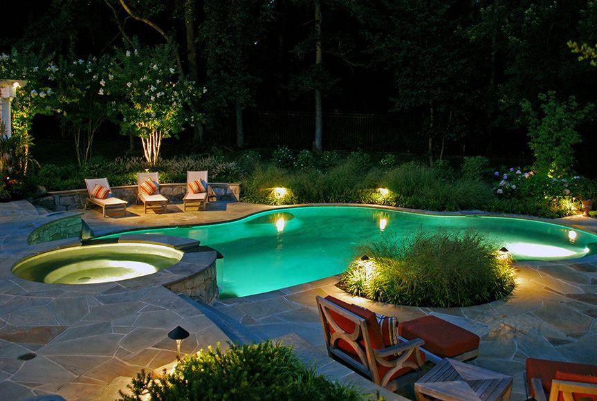 Outdoor Lighting In Bethesda Md Luxury Pool Pool Landscape Design Swimming Pool Lights