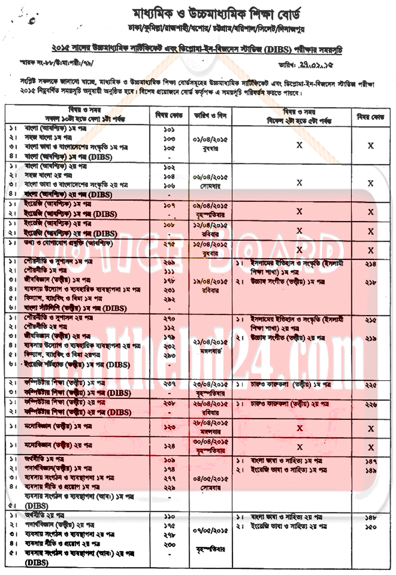 ssc exam routine 2015 bangladesh hsc routine 2015 published by the