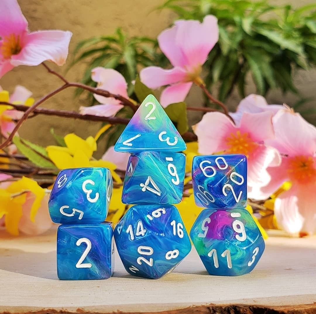 Waterlily with White Numbers Polyhedral 7-Die Festive Chessex Dice Set