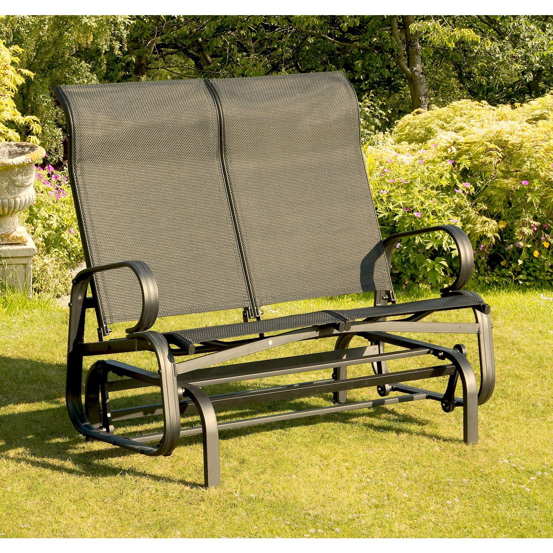 suntime havana twin seat glider chair in black - Garden Furniture Gliders