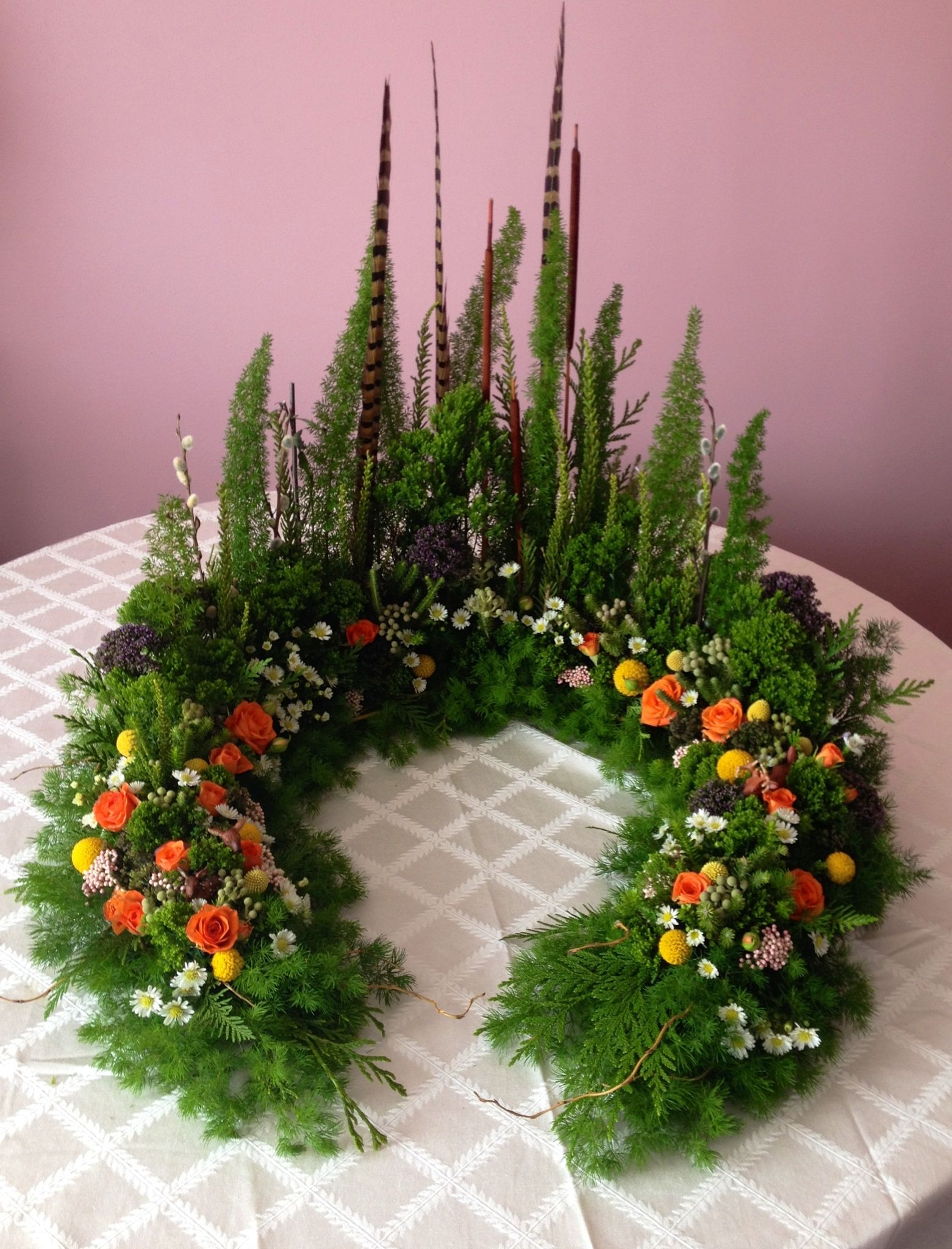 Miniature forest themed arrangement meant for and urn for Garden arrangement