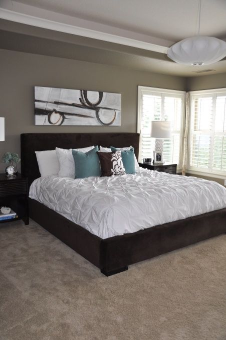 Teal And Beige Bedroom Mocha Accent By Behr Paint Color Bedroom Pinterest Behr Teal