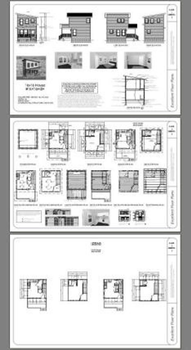 16x16 House 1 Bedroom 1 5 Bath 478 Sq Ft Pdf Floor Plan Instant Download Model 2h In 2020 Floor Plans Roof Framing Lap Siding