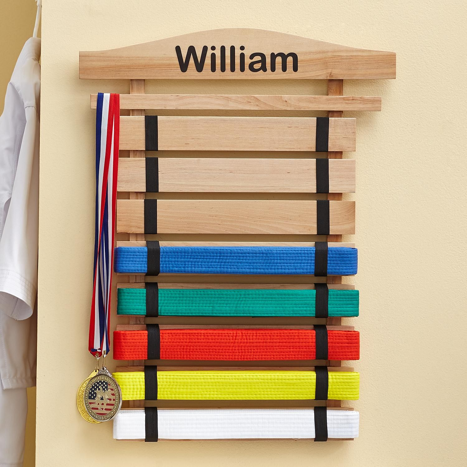 6 Rack Martial Arts belt holder rack display Karate birthday gift taekwondo