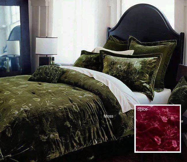 Fl Comforter Sets, Moss Green Velvet Bedding