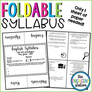 Foldable Syllabus  Syllabus Template School And Classroom Organization