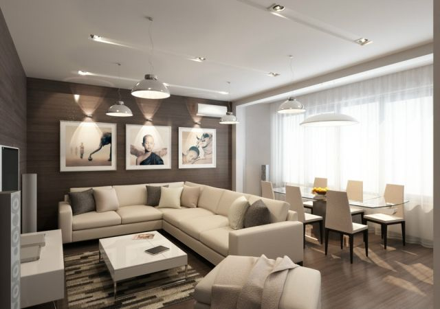 kleines-wohnzimmer-essecke-beige-braun-afrika-wanddeko-beleuchtung - braun wohnzimmer ideen