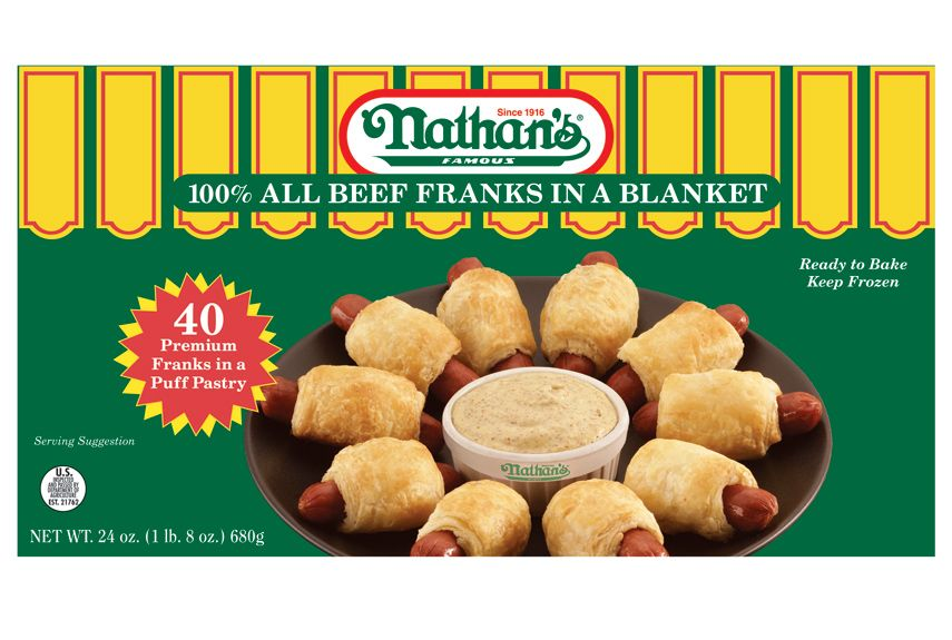 The popular hotdogs add a snappy note to this party favorite, which has just the right amount of flaky pastry. Nathan's Famous 100% All Beef Franks in a Blanket, $8.99 for 40; at grocery stores.   - WomansDay.com