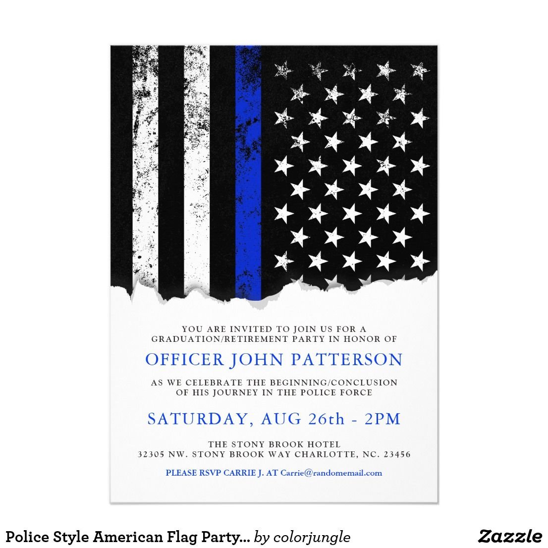 Police Style American Flag Party Event Wht Invite Zazzle Com American Flag Party Party Event Graduation Invitations