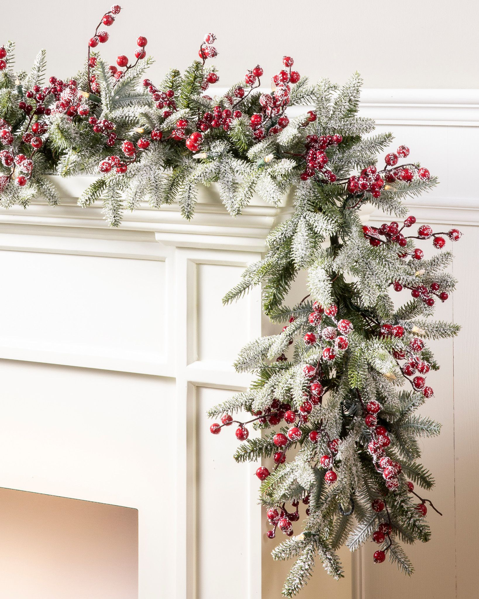 6' Red Berry Frosted Fraser Fir Artificial Christmas Garland, LED Clear by Balsam Hill -   19 christmas decor wreaths & garlands ideas