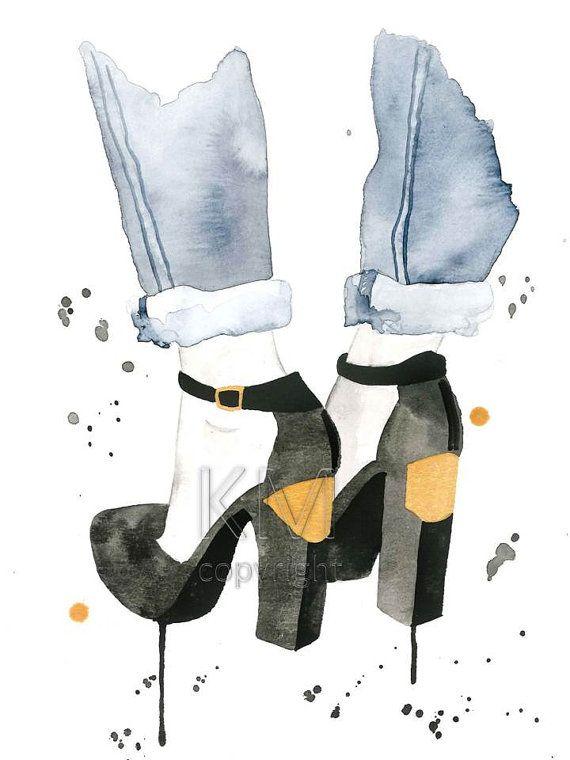 Photo of Artículos similares a Black Gold high Heel, Ilustración de moda, acuarela pintura moda moda arte de la pared, zapatos de moda impresiones, zapatos de la gente gratis, decoración de la moda del oro en Etsy