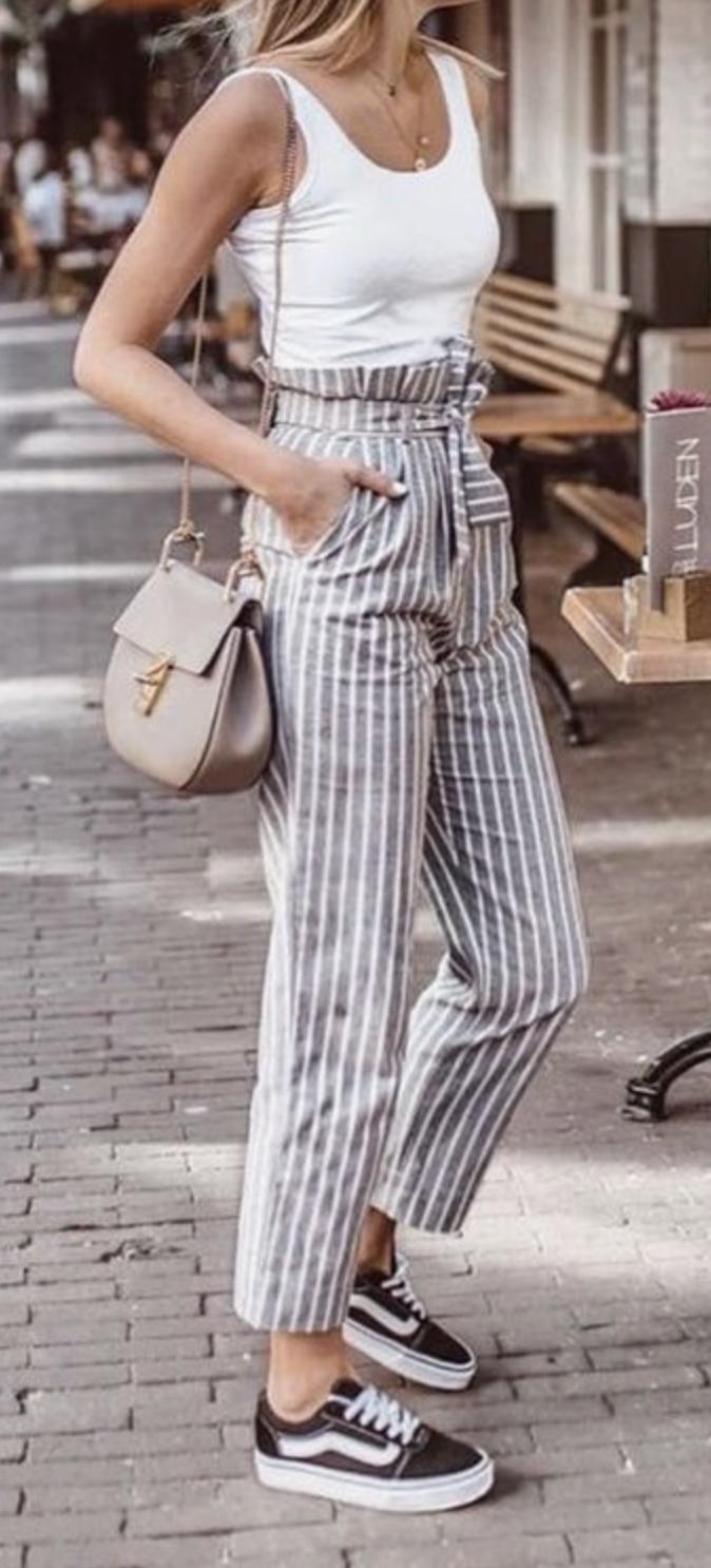 ec7040345922 white tank + stripe belted pants + vans old skool + chloe drew bag ...