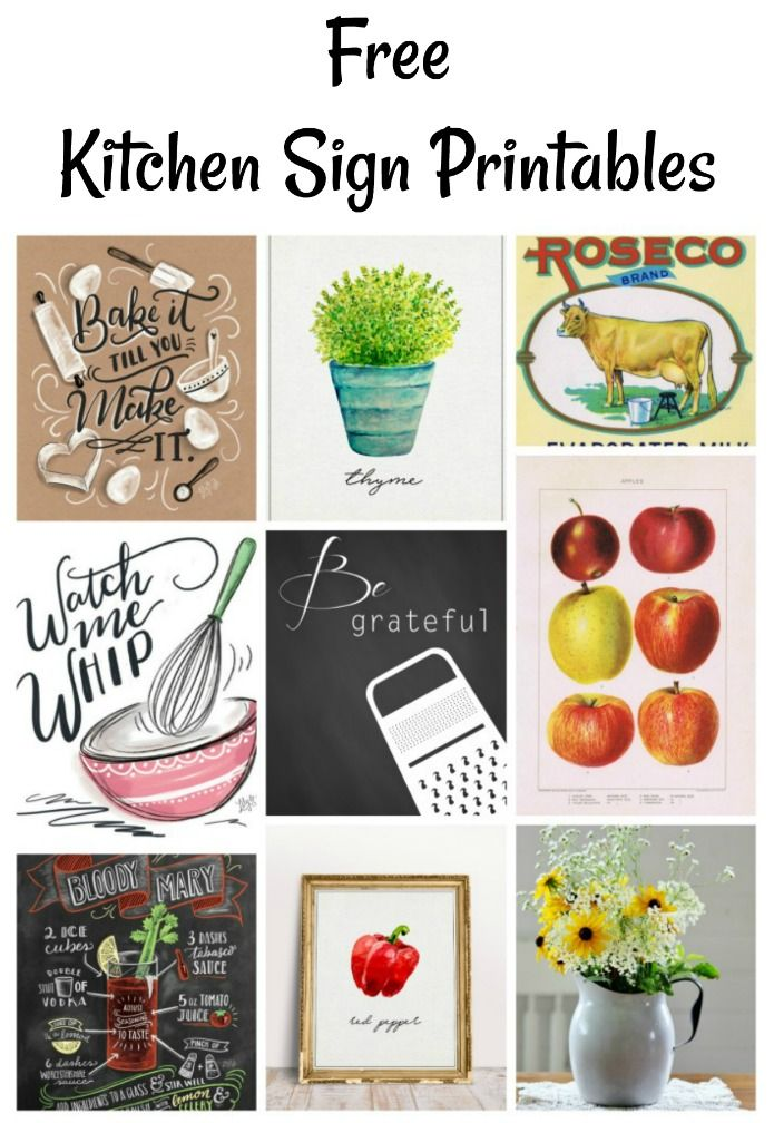 Free Instant Artwork Kitchen Signs Printables Wall Art Decor