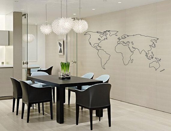 World map outline decal large world map wall decal wall art world map outline decal large world map wall decal wall art home decor living room bedroom office gift idea gumiabroncs Gallery