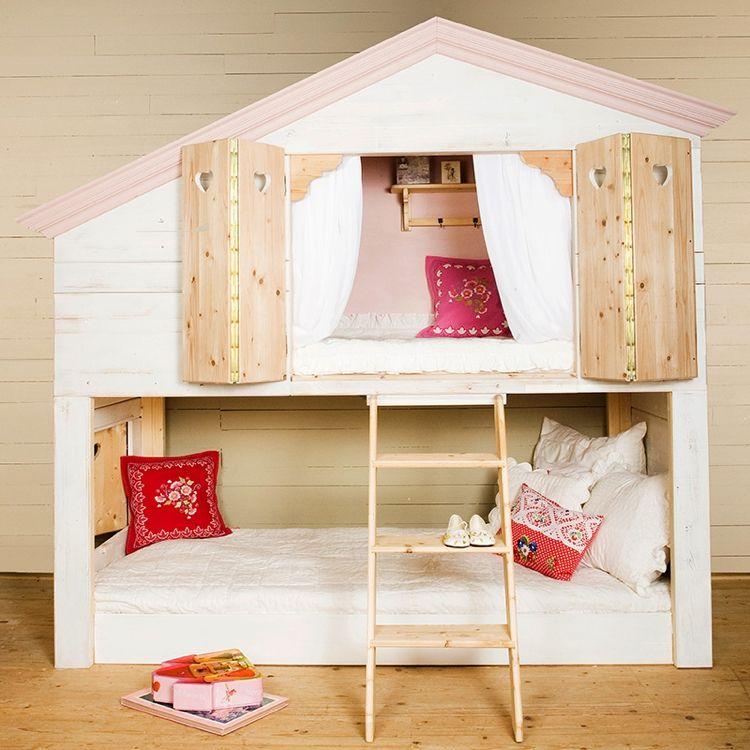 Ikea Kura Bett Umgestalten Hochbett Betthaus Fensterladen Bedroom Kids