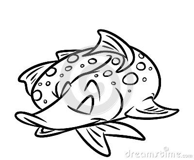 Fish Pike Sleeps Cartoon Coloring Pages Isolated Image Animal