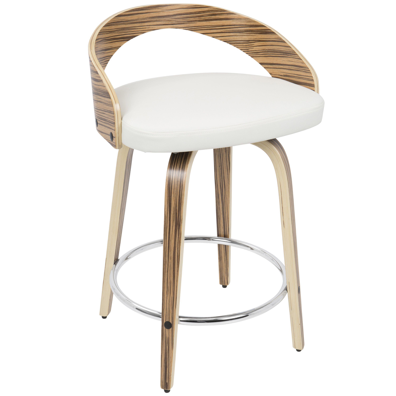 Superb Grotto Zebra Wood 24 Inch Mid Century Modern Swivel Counter Evergreenethics Interior Chair Design Evergreenethicsorg