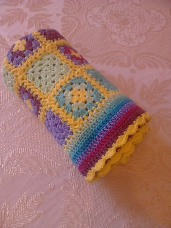 Patchwork Crochet Baby Blanket 35 90cm Made To by BezCreations