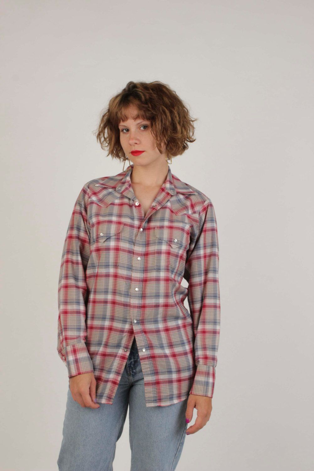 80's Western Shirt By Ely Cattleman/Unisex Button Down/Pearl Snap Buttons/Red Plaid/Size 14-32 by VertigoChicago on Etsy
