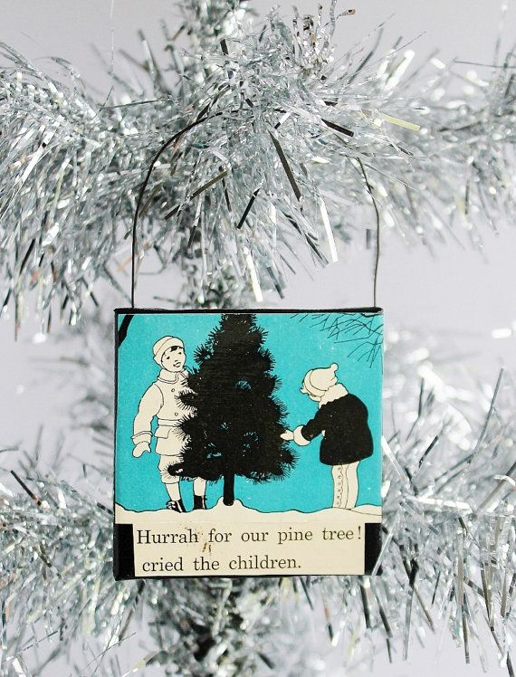Boy and Girl Find Christmas Tree Canvas Ornament / by TheBlueRam