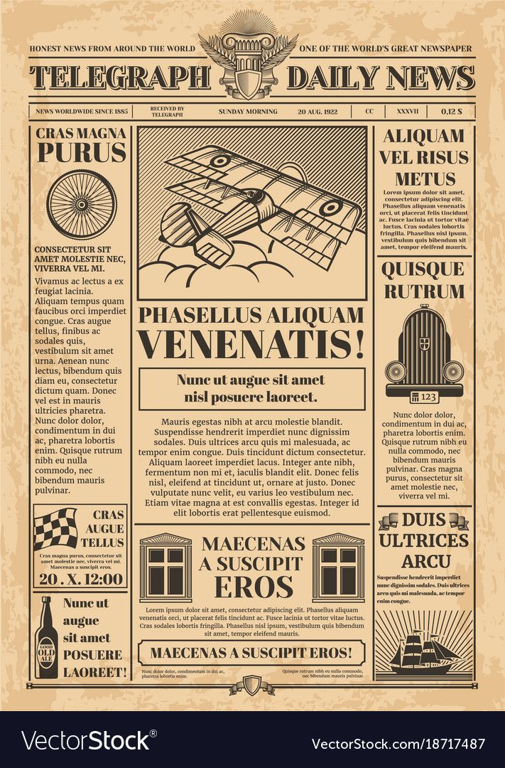 old newspaper vector template  retro newsprint with text