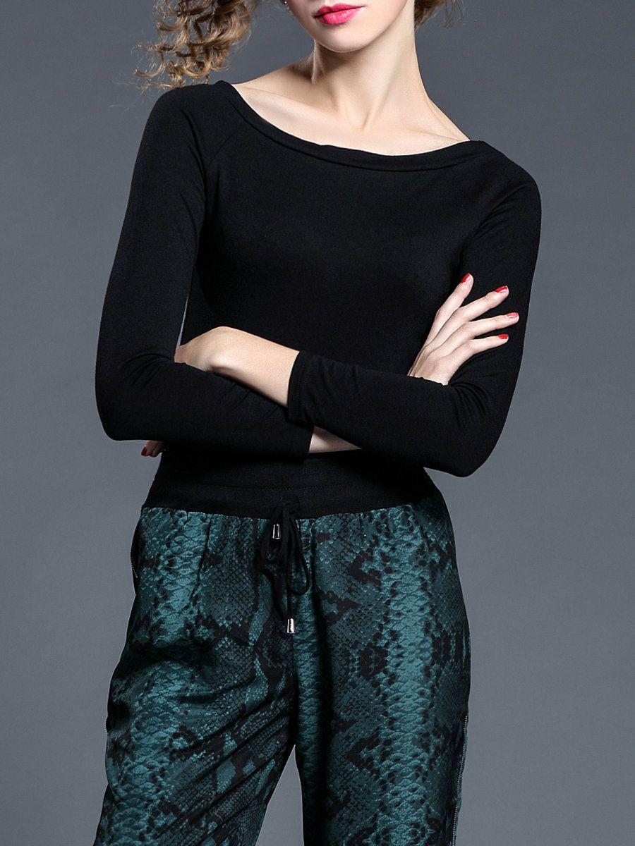 #AdoreWe #StyleWe Designer Long Sleeved Tops - Designer SELECTE Black Simple Plain Polyester Long Sleeve Top - AdoreWe.com