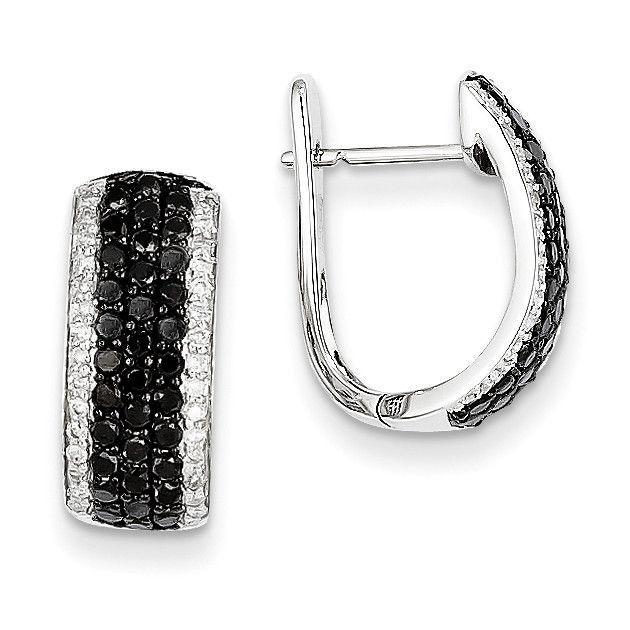 14k White Gold Black & White Diamond Hinged Hoop Earrings