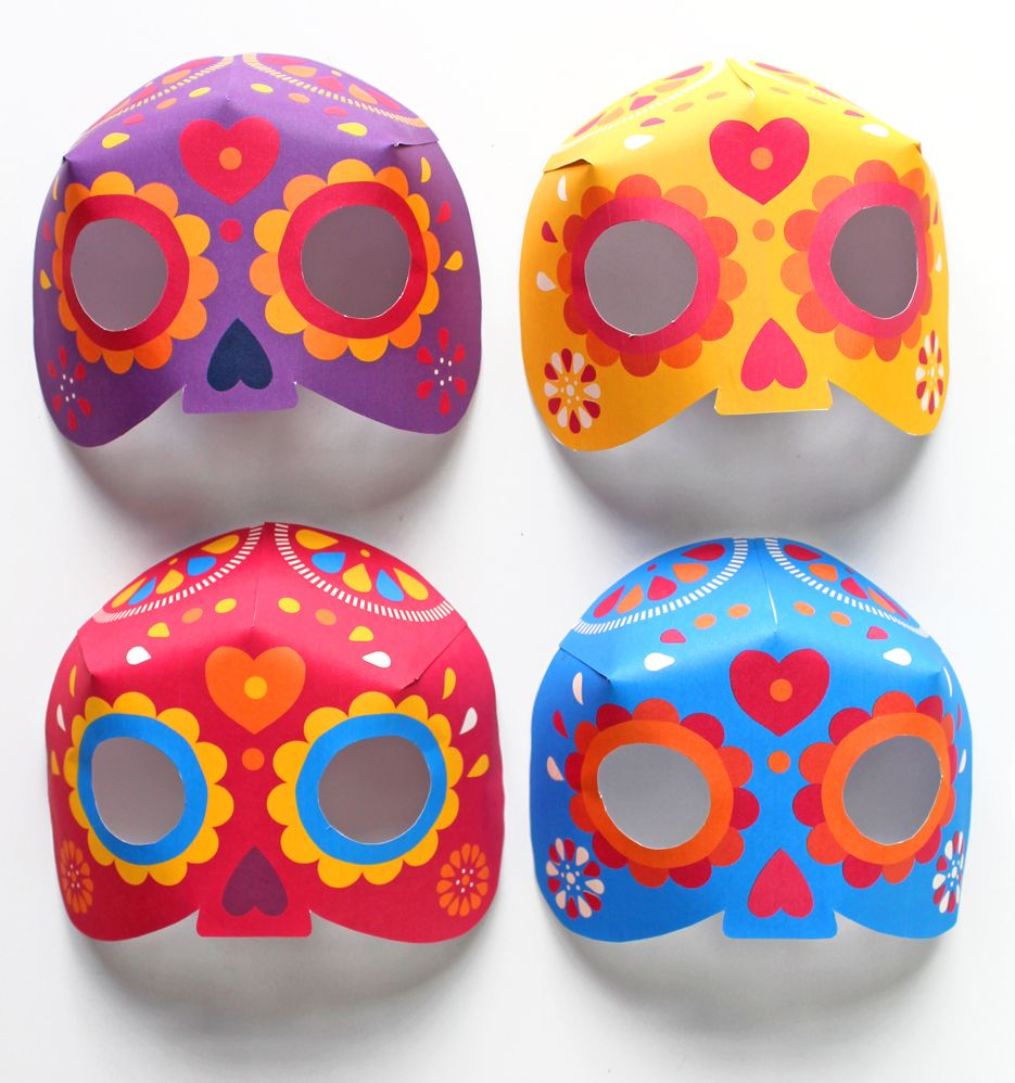 Printable 3D Calavera mask craft - Watch video tutorial and see how ...