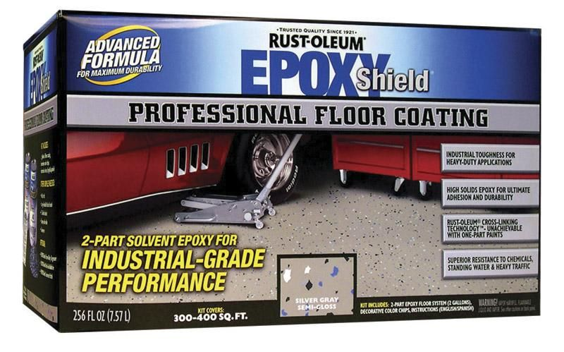 Rust Oleum 203373 Epoxy Shield Professional Floor Coating Kit Gray 2 Gal Cement Stain Garage Floor Paint Flooring