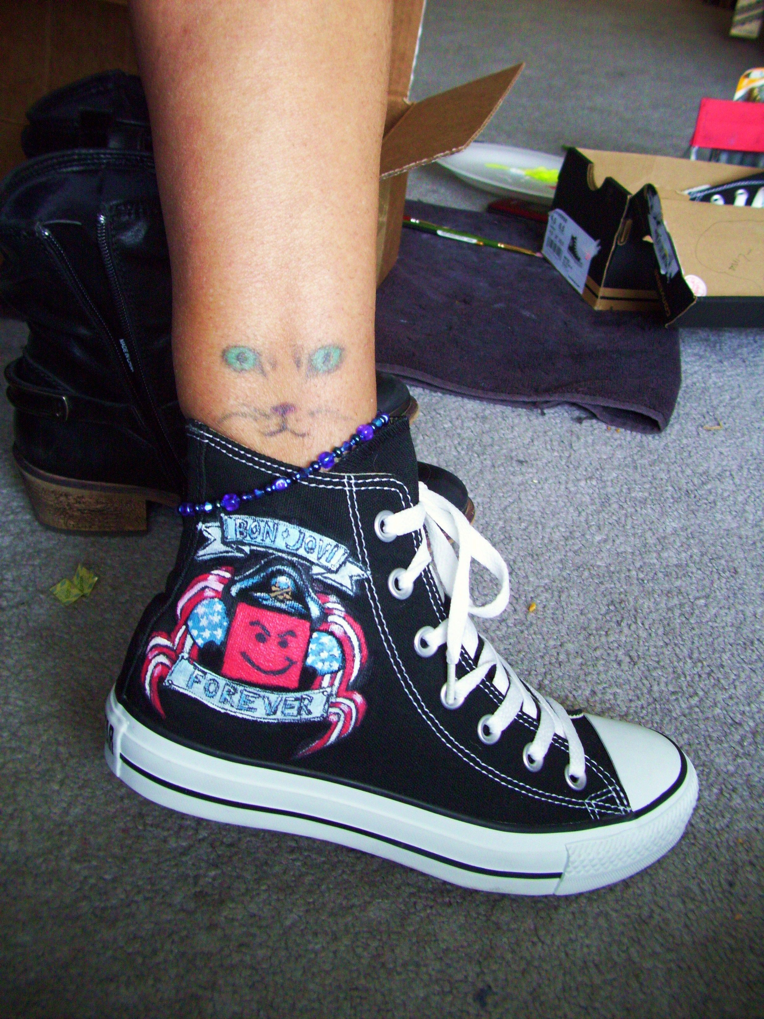 23446598c72db Hand Painted Bon Jovi Converse shoes | My Bon Jovi Art Paintings in ...