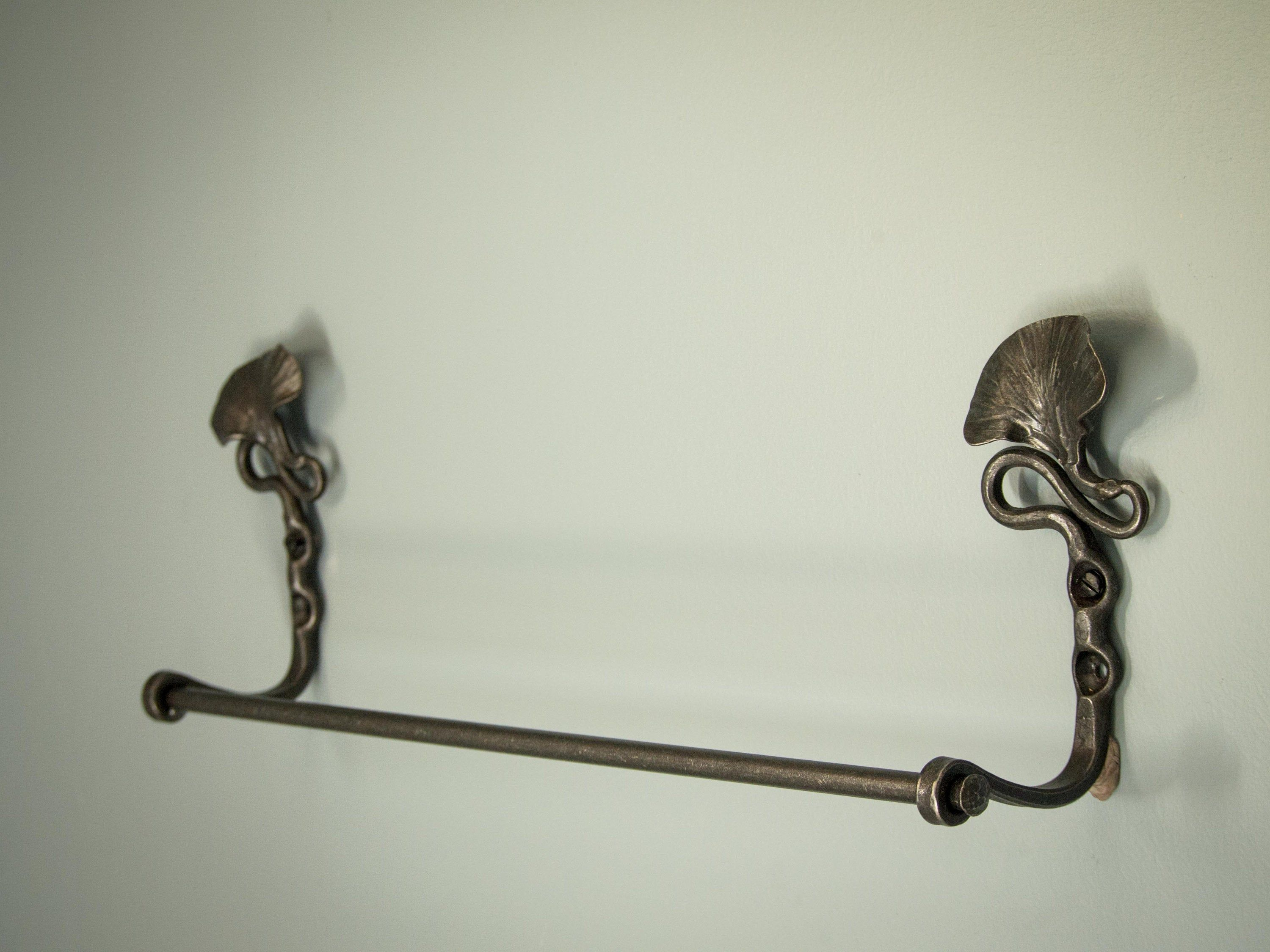 "Photo of Towel rack • Bathroom • Hand forged botanical towel rack • 16 ""- 30"" bathroom tap • Newquist Forge"