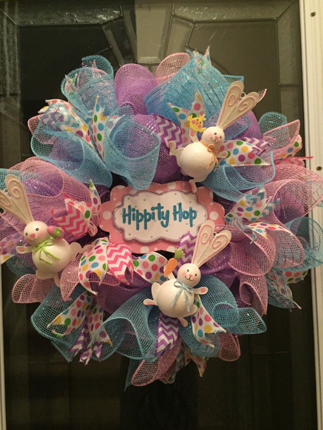 Photo of Items similar to REDUCED PRICE ..Easter wreath, Easter Bunny Wreath, deco mesh, Spring Wreath, metallic deco mesh, easter rabbit, wreath, immediate shipment on Etsy