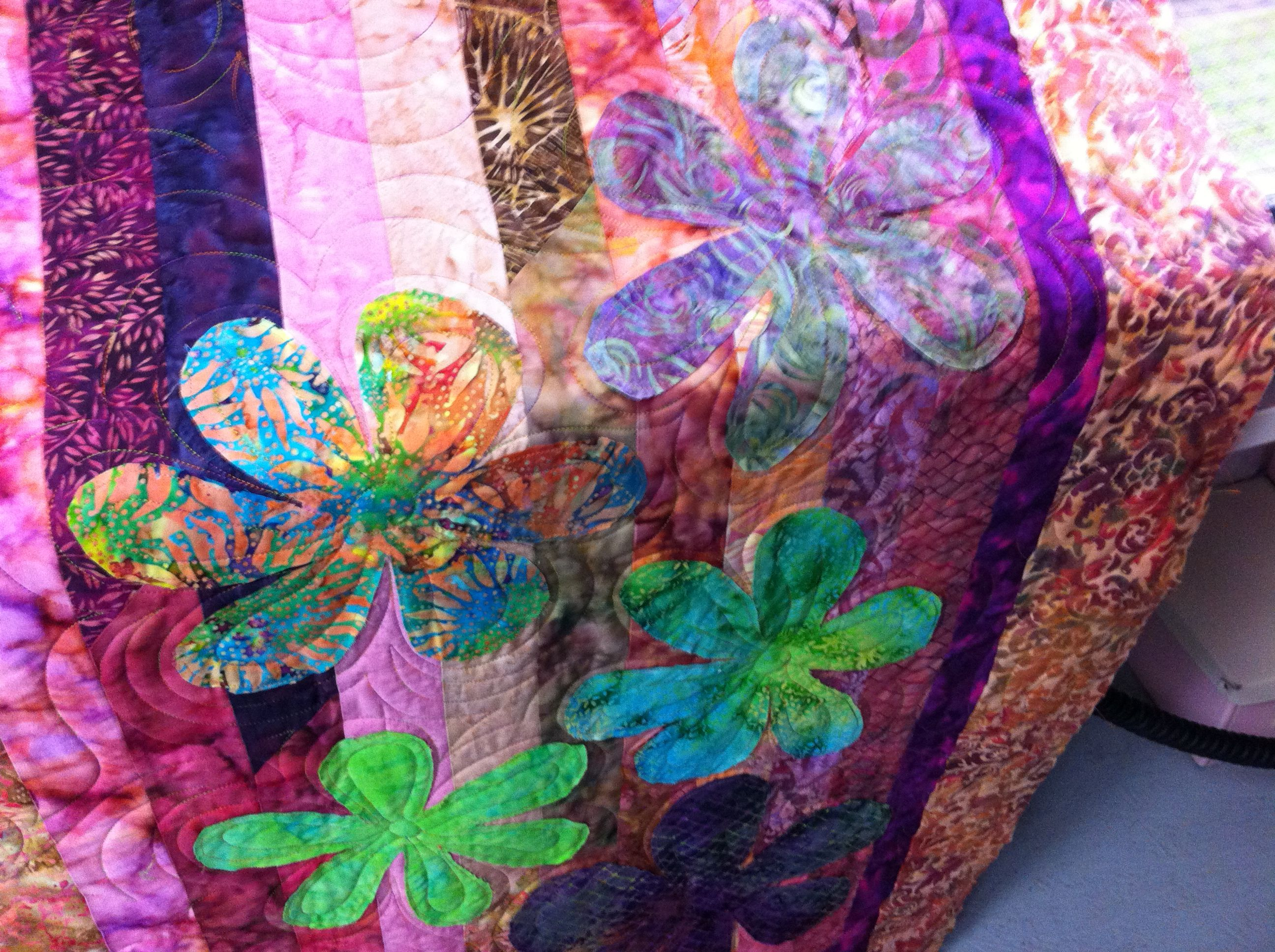 Jelly roll race with Hawaiian flower applique | Patchwork ... : batik jelly roll quilt - Adamdwight.com