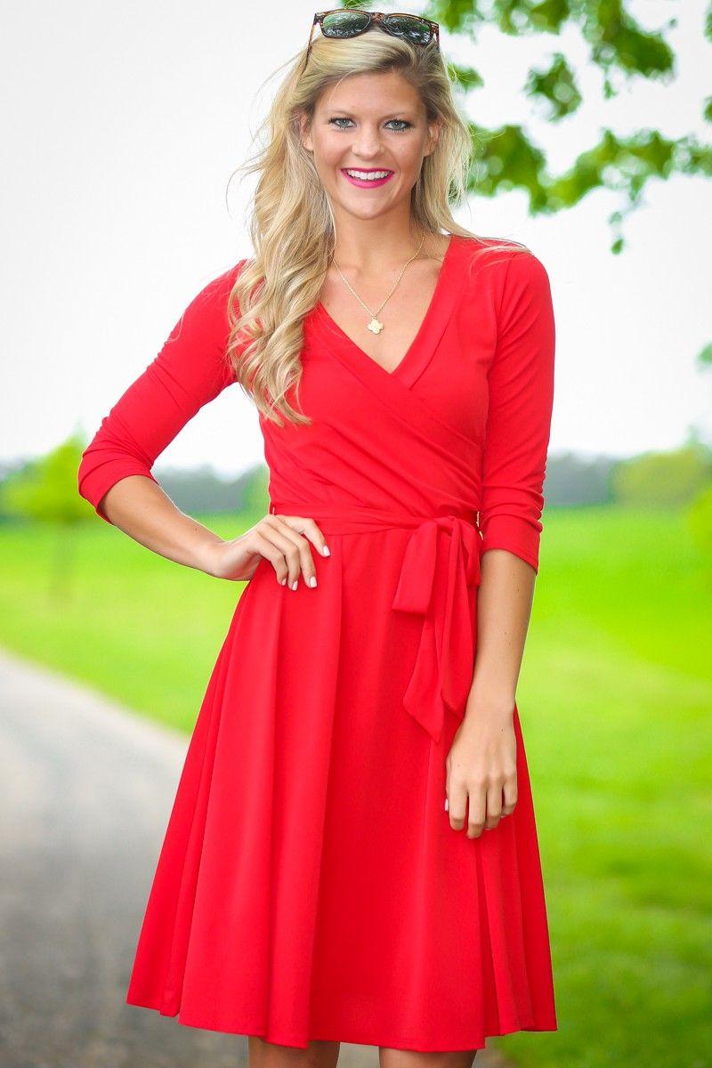 Kate scarlet red long sleeve dress at reddressboutique