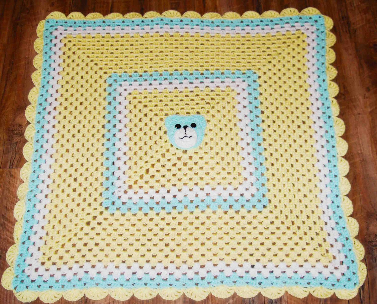 Crochet Baby Blanket, yellow, green, granny squares, cute bear by ...