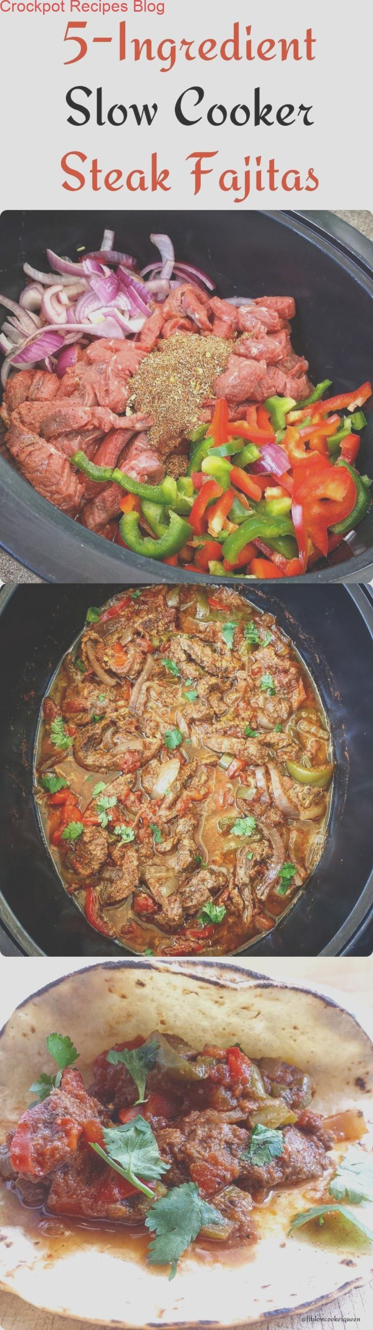 There are only 5-Ingredients in this flavorful slow cooker steak fajitas recipe....   - keto ... #steakfajitarecipe