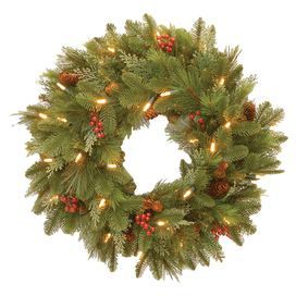 Outdoor Lighted Wreath Prelit Indooroutdoor Wreath With Faux Pinecone And Red Berry