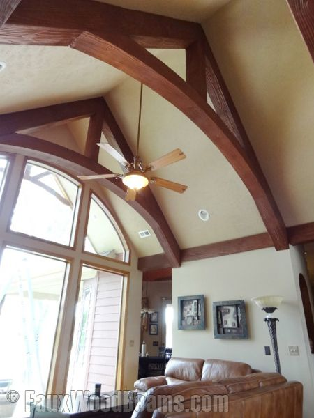 Cathedral ceiling with beams the arch in these modified for Faux wood trusses