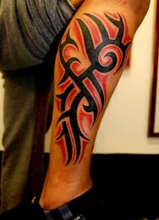 black and red tribal tattoo on leg sleeve tattoo pinterest leg rh pinterest com red and black tribal tattoo sleeves red and black tribal cross tattoos