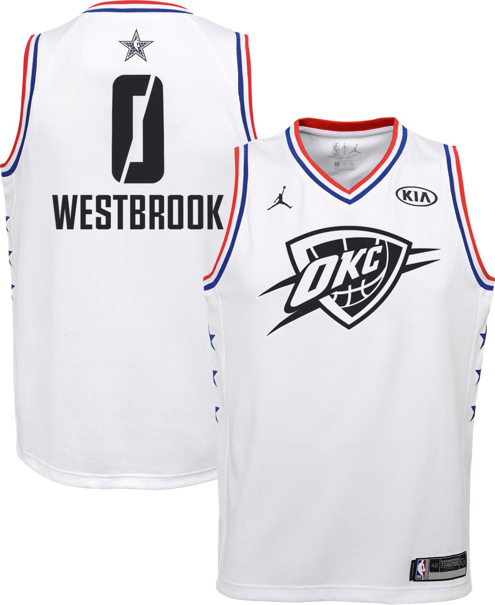 85cf202bf Jordan Youth 2019 NBA All-Star Game Russell Westbrook White Dri-FIT  Swingman Jersey