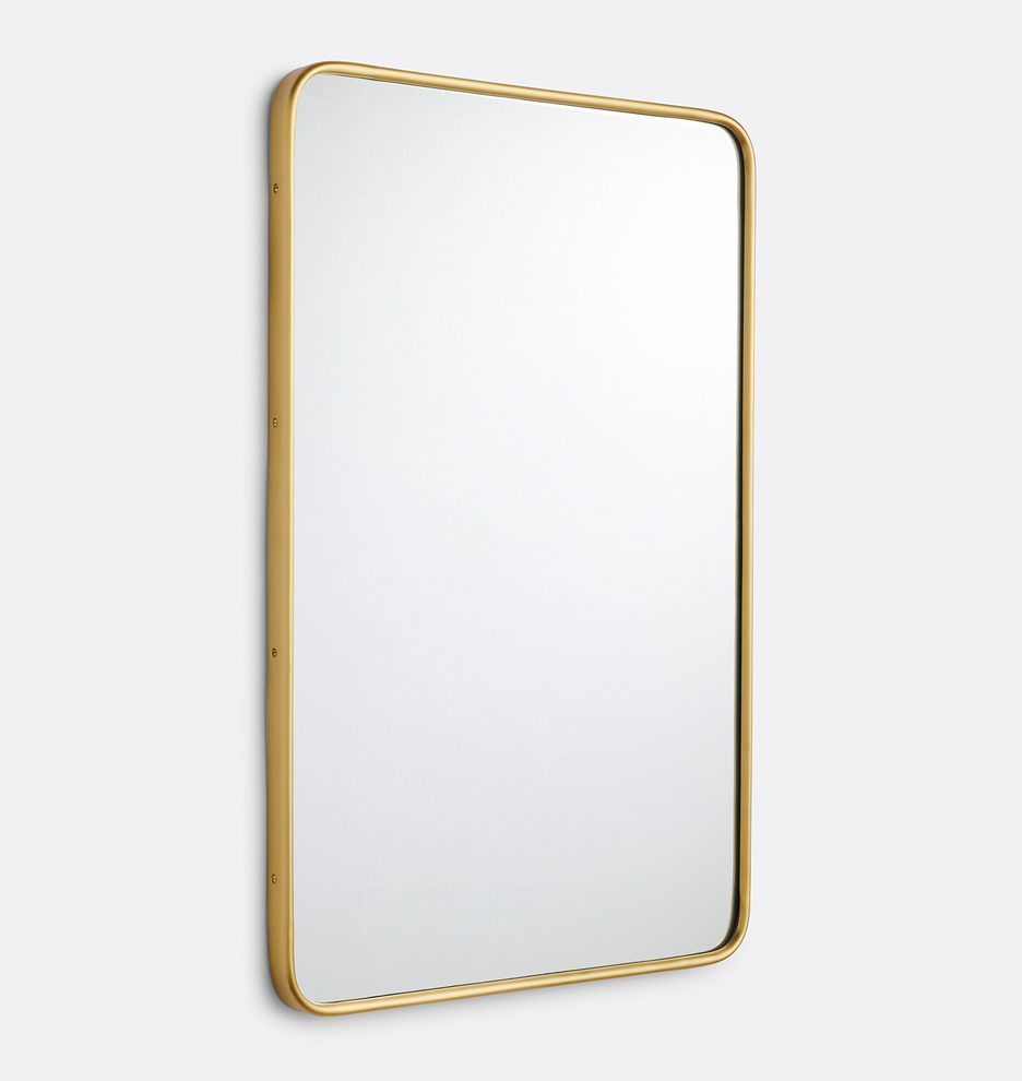20 X 30 Polished Nickel Rounded Rectangle Metal Framed Mirror Rejuvenation Metal Frame Mirror Mirror Frames Rounded Rectangle