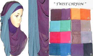 2 Tone Chiffon Polos Distributor Pashmina Shawl Kerudung Grosir Ecer Murah Selendang Kerudung