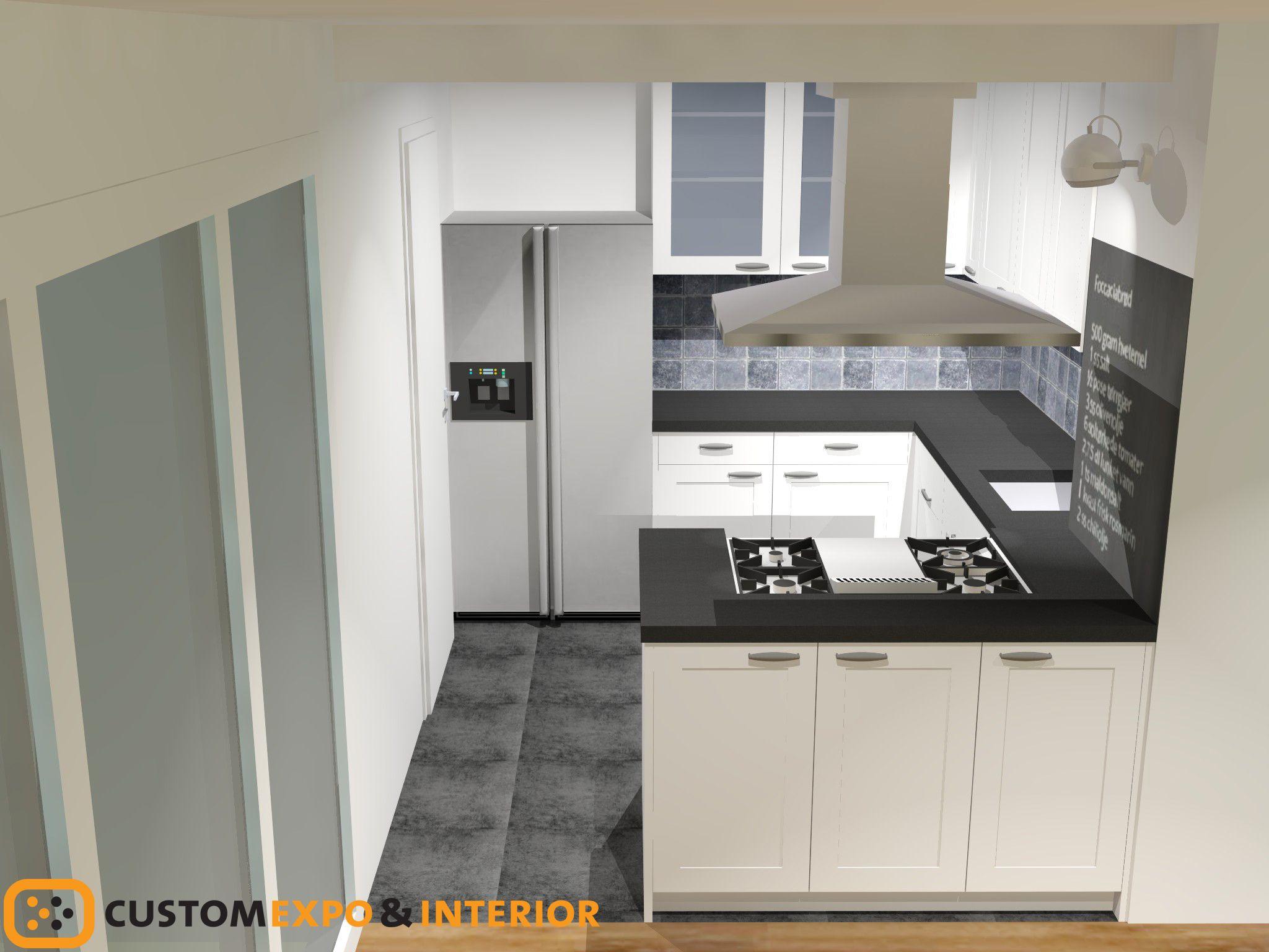 Landelijke keuken wit met zwart blad keuken - Betegeld zwart wit geblokte keuken ...