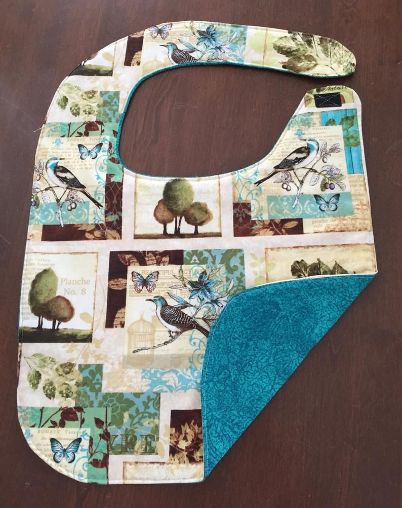 Adult bibs for seniors .Two bibs, reversible.12 inches