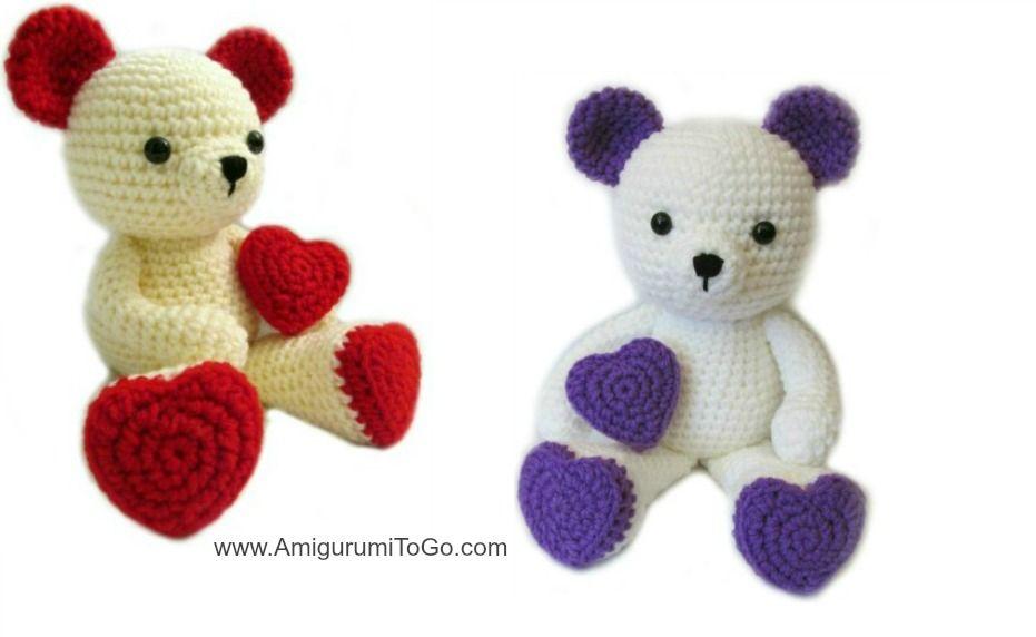 Lion Amigurumi To Go : Valentine teddy bear with heart shaped feet amigurumi to go