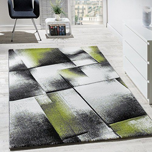 Designer Teppich Wohnzimmer Teppiche Kurzflor Meliert Grü   - wohnzimmer grun schwarz