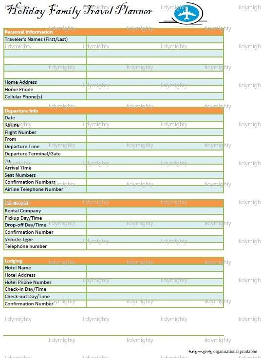 Holiday Family Travel Planner - Printable PDF (INSTANT DOWNLOAD - vacation schedule template