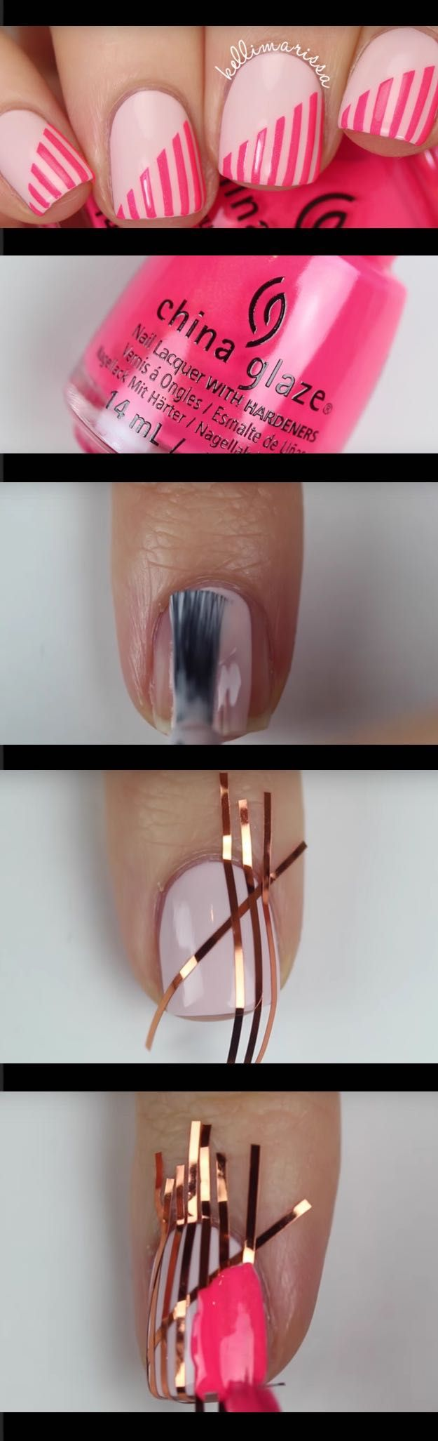 Super Easy Nail Art Ideas for Beginners - DIY Beginner Striping Tape Nail  Art Tutorial KELLI - 41 Super Easy Nail Art Ideas For Beginners DIY Nails Pinterest